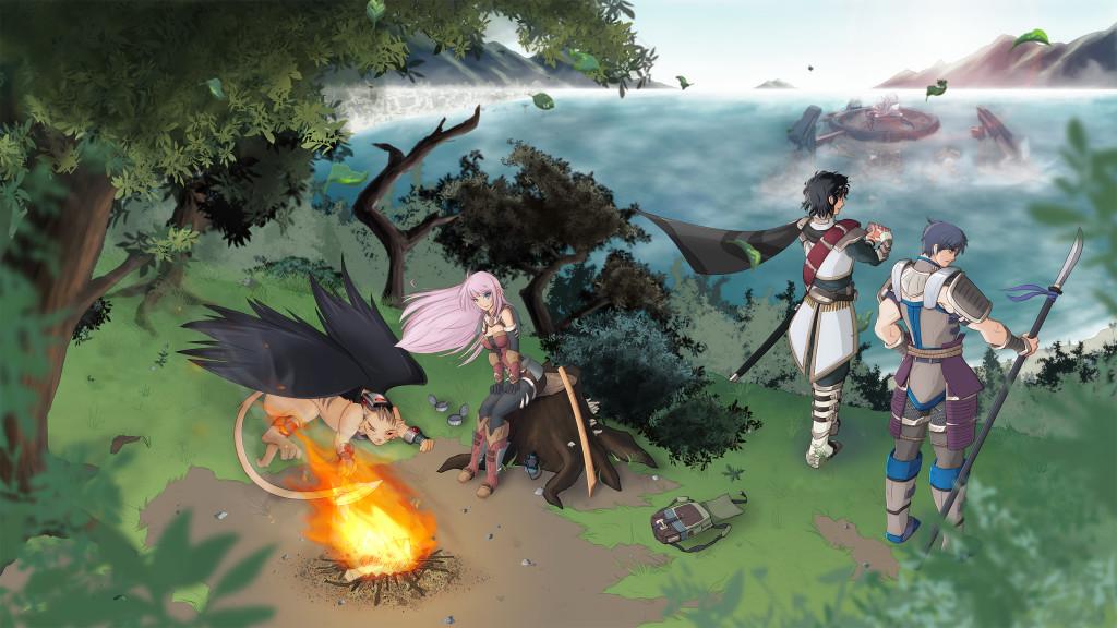 Arashi, Ket, Shion, and Tristen outside the Silverlight Lake Ruins.